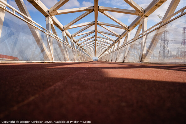 Pedestrian bridge with modern geometric shapes in futuristic style. Canvas Print by Joaquin Corbalan