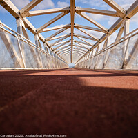 Buy canvas prints of Pedestrian bridge with modern geometric shapes in futuristic style. by Joaquin Corbalan