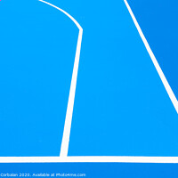 Buy canvas prints of Intense blue background, from the floor of a basketball court to the midday sun, with straight lines and white curves. by Joaquin Corbalan