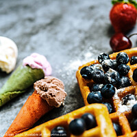 Buy canvas prints of Ice creams and waffles with tasty red fruits full of healthy vitamins, over dark stone background with copy space for text. by Joaquin Corbalan