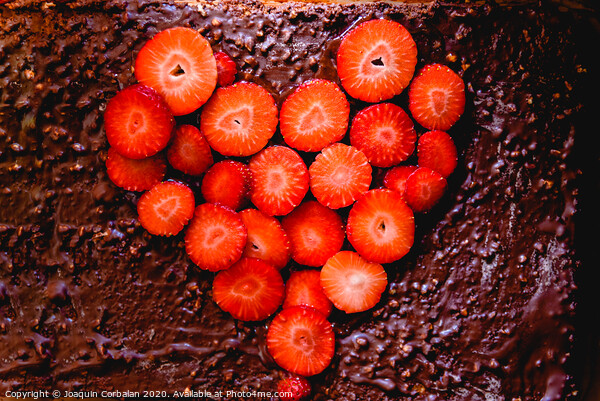 Sliced strawberry cut on a cake on a tray before baking it, with a heart shape. Framed Mounted Print by Joaquin Corbalan