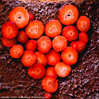 Buy canvas prints of Sliced strawberry cut on a cake on a tray before baking it, with a heart shape. by Joaquin Corbalan