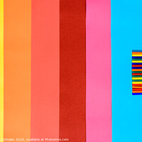 Buy canvas prints of Colorful background of plastic bars, silicone glue, on a background of colored lines. by Joaquin Corbalan