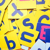Buy canvas prints of Educational cards for children with letters in a school. by Joaquin Corbalan