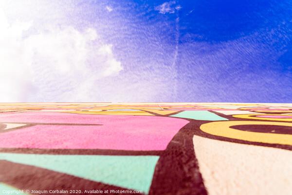 Blue sky urban background, with graffiti on a wall. Acrylic by Joaquin Corbalan
