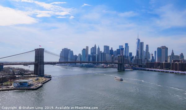 Manhattan Skyline from Manhattan Bridge  Framed Mounted Print by Graham Long