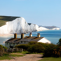 Buy canvas prints of The Coastguards Cottages at Cuckmere Haven by Nick Hunt