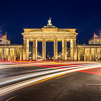 Buy canvas prints of Brandenburg Gate, light trails by Katie McGuinness