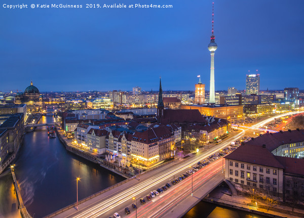 Berlin skyline at night Canvas print by Katie McGuinness