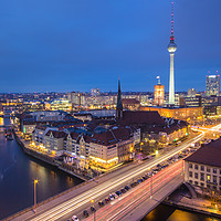 Buy canvas prints of Berlin skyline at night by Katie McGuinness