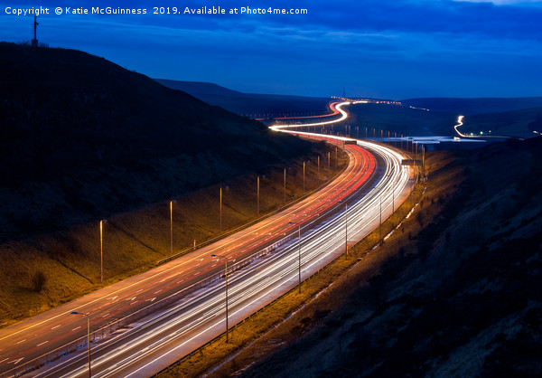 M62 light trails across the Penines in West Yorksh Acrylic by Katie McGuinness
