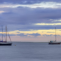 Buy canvas prints of Boats at sunset on the Swale Estuary in Kent  by Donna Joyce