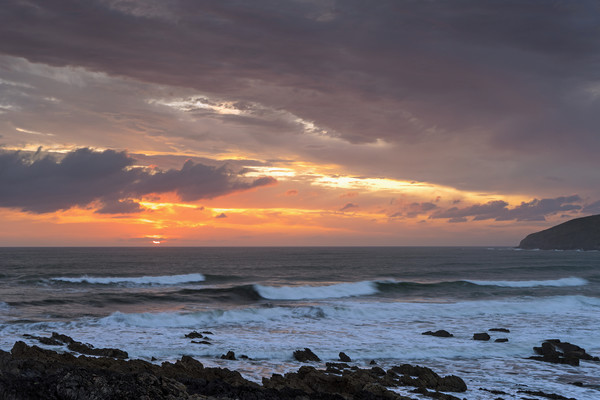 Moody Sunset at Croyde Bay in North Devon Canvas Print by Tony Twyman