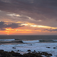 Buy canvas prints of Moody Sunset at Croyde Bay in North Devon by Tony Twyman