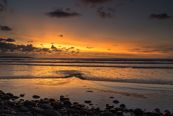 Sunset view as the Tide rolls in at Westward Ho! Canvas Print by Tony Twyman