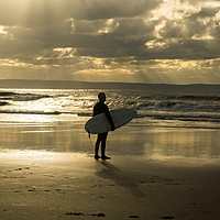 Buy canvas prints of Surfer watching the waves at Croyde Bay in Devon by Tony Twyman