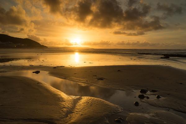 Westward Ho beach sunset Canvas Print by Tony Twyman