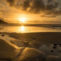 Buy canvas prints of Westward Ho beach sunset by Tony Twyman