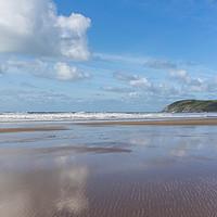 Buy canvas prints of Croyde beach reflections by Tony Twyman