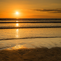 Buy canvas prints of Golden Westward Ho sunset by Tony Twyman