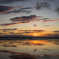 Buy canvas prints of Sunset beach reflections by Tony Twyman