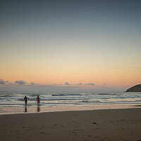 Buy canvas prints of Croyde surfers at sunrise by Tony Twyman
