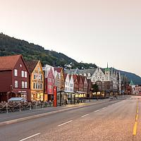 Buy canvas prints of The Bryggen Hanseatic Wharf of Bergen waterfront. by RUBEN RAMOS