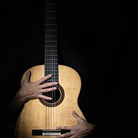 Buy canvas prints of Female hands on guitar. by RUBEN RAMOS