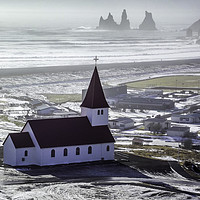 Buy canvas prints of Vik Church by Tony Williams