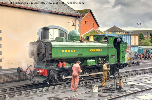7752 pannier tank engine at Minehead Canvas print by Duncan Savidge