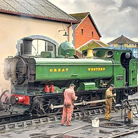 Buy canvas prints of 7752 pannier tank engine at Minehead by Duncan Savidge