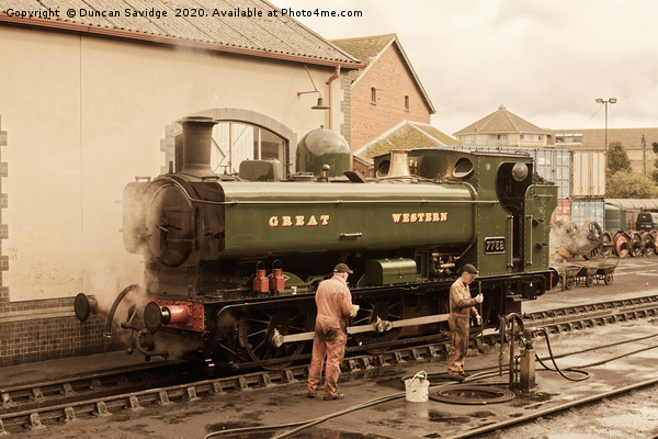 7752 pannier tank engine at Minehead in antique  Canvas print by Duncan Savidge