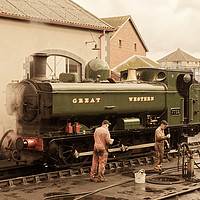 Buy canvas prints of 7752 pannier tank engine at Minehead in antique  by Duncan Savidge