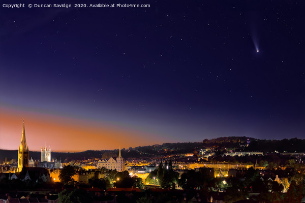 Comet Neowise seen across the City of Bath landsca Canvas Print by Duncan Savidge