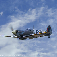 Buy canvas prints of Spitfire in D-Day Colours by Adrian Rowley