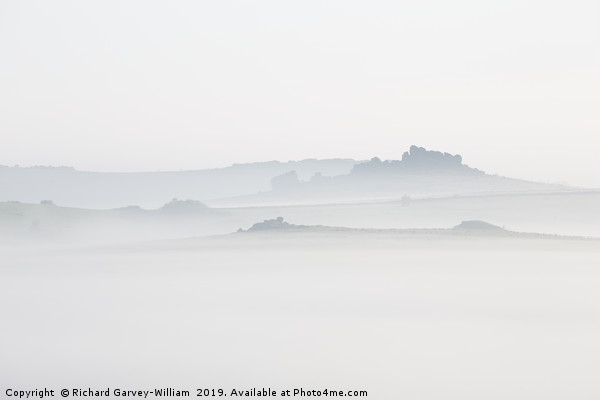 Hound Tor in Morning Mist Canvas print by Richard Garvey-William