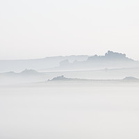 Buy canvas prints of Hound Tor in Morning Mist by Richard Garvey-William