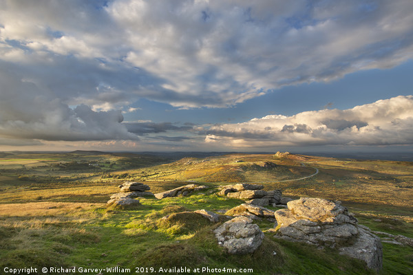 View from Rippon Tor to Haytor Canvas print by Richard Garvey-William