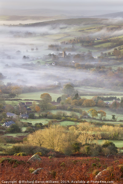 Widecombe-in-the-Moor on a Misty Morning Canvas print by Richard GarveyWilliams