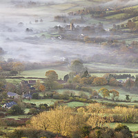 Buy canvas prints of Widecombe-in-the-Moor on a Misty Morning by Richard GarveyWilliams
