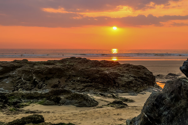 Gwithian Beach at sunset Canvas print by Brenda Belcher