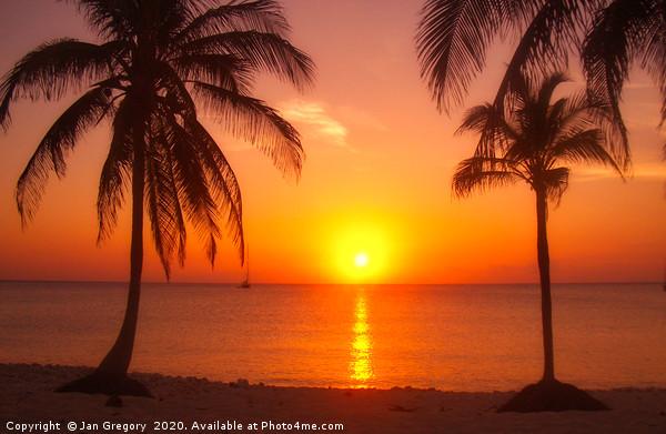 Barbados Sunset Framed Print by Jan Gregory