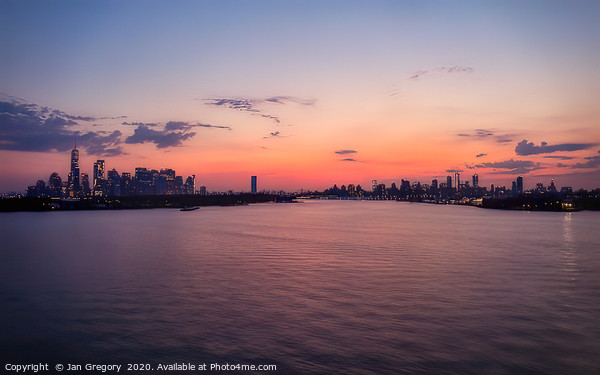 New York sunrise Framed Mounted Print by Jan Gregory