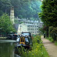 Buy canvas prints of Rochdale Canal, Hebden Bridge by Alison Chambers
