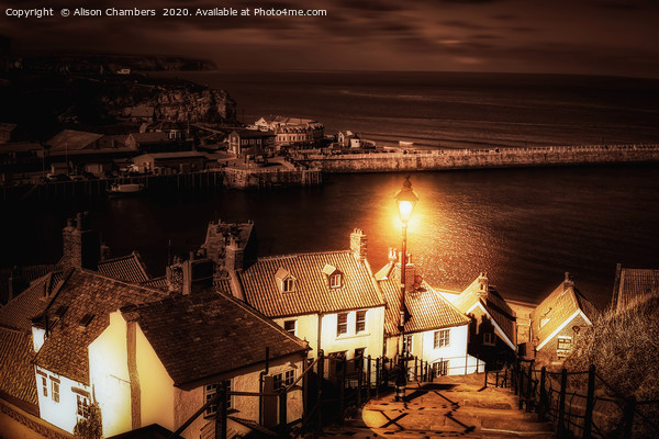 Whitby By Gaslight Print by Alison Chambers