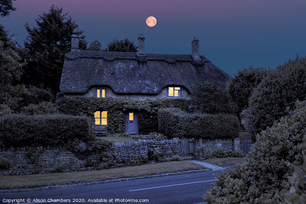 Full Moon Cottage Framed Mounted Print by Alison Chambers