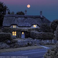 Buy canvas prints of Full Moon Cottage by Alison Chambers