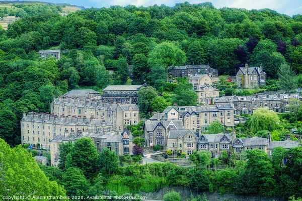 Hebden Bridge Houses Framed Mounted Print by Alison Chambers