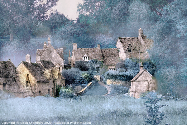 Frosty Morning Cottages Framed Mounted Print by Alison Chambers