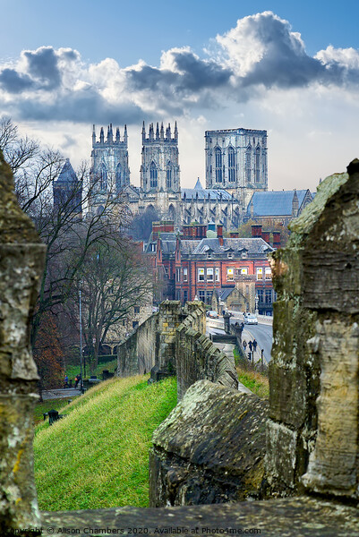 York Minster and City Wall Framed Print by Alison Chambers